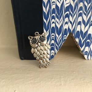 """Owl Pendant 1.75"""" silver plated"""
